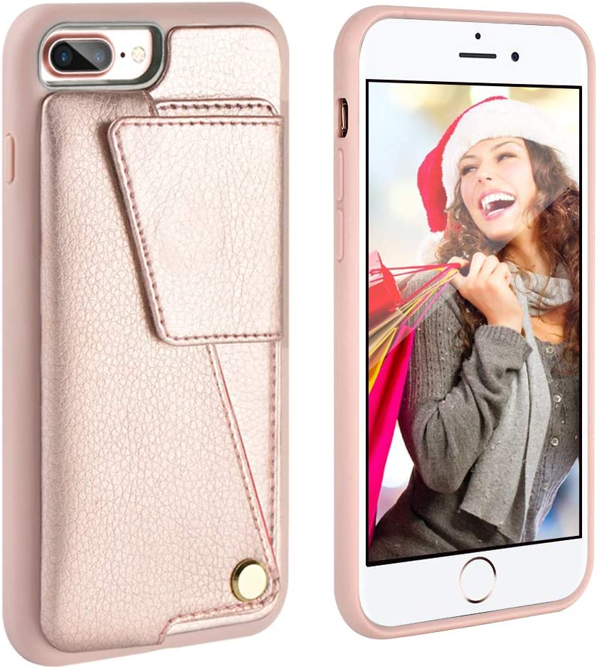 iPhone 7 Plus Case, iPhone 7 Plus Wallet Case, ZVEdeng iPhone 8 Plus Wallet Case, iPhone 8 Plus 7 Plus Case with Card Holder for Women Shockproof Leather Protective Cover-Rose Gold