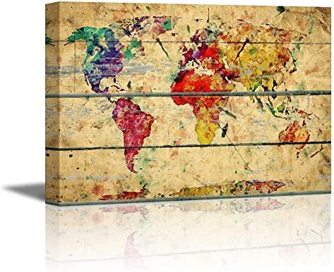 Abstract Colorful World Map on Vintage Wood Background Rustic