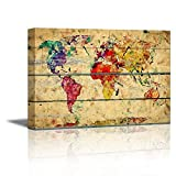 Wall26 – Canvas Prints Wall Art – Abstract Colorful World Map on Vintage Wood Background – 24″ x 36″ Picture