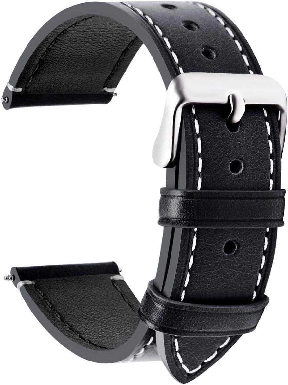 Fullmosa Wax Correa Reloj Piel,6 Colores para Correa Huawei Samsung, Correa/Banda/Band/Pulsera/Strap de Recambio/Reemplazo de 14mm 16mm 18mm 20mm 22mm 24mm, Negro + Hebilla de Gris Plata,22mm