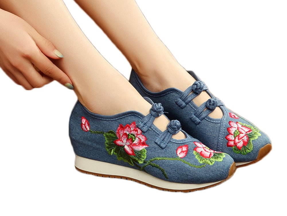AvaCostume Womens Lotus Embroidery Casual Walking Sneakers Fashion Traveling Shoes B072MM7T1M 34 M EU|Blue