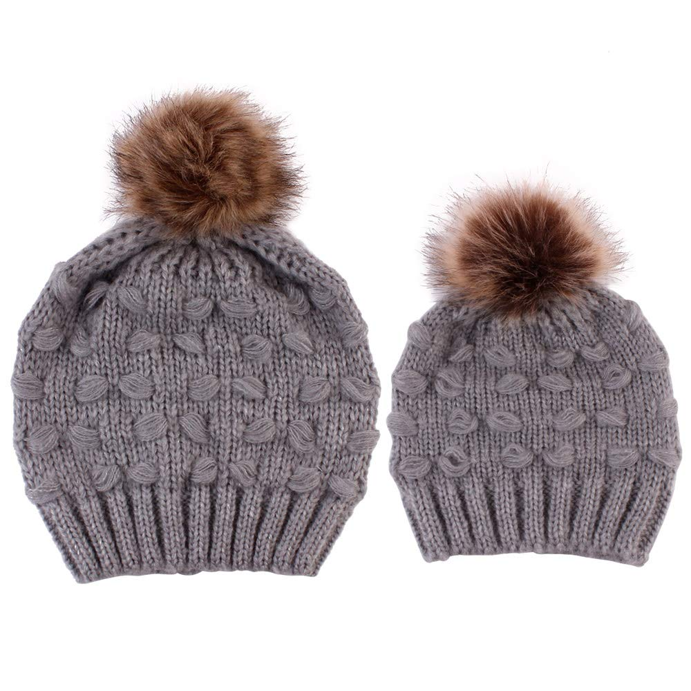 Parent-Child Hat Winter Knitted Beanies Mom Baby Faux Fur Pompom Hat Warm Mother Kids Family Knit Bobble Cap UK1808301891