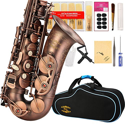 Glory High Grade Antique finish series PR1, E Flat Alto Saxophone with 11reeds,8 Pads cushions,case,carekit