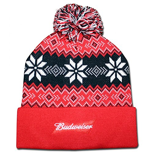 budweiser-mens-fairisle-cuff-pom-beanie-red-one-size