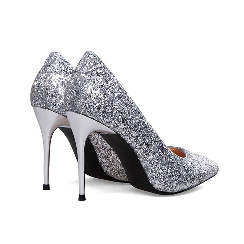 Frauen schuhe high heels shine sequins leder hochzeit casual closed toe pumps hochzeit leder bühne party nightclub arbeit Sandale silver e9c15a