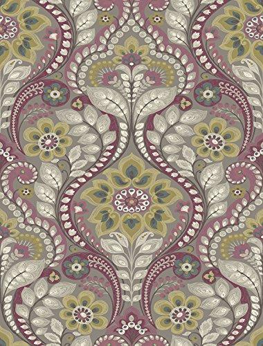 A-Street Prints 2763-12103 Night Bloom Grey Damask Wallpaper,