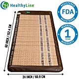 HealthyLine Infrared Heating Mat - Relieve Pain, Sore Muscles, Arthritis and Injury Recovery - (Soft & Flexible) - Amethyst, Jade & Tourmaline Ceramic Stone - 60″ x 24″ - US FDA