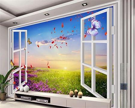 LWCX Wallpaper Customized Size Romantic 3D Window Outside Provence Lavender Backdrop Image Papel De Parede