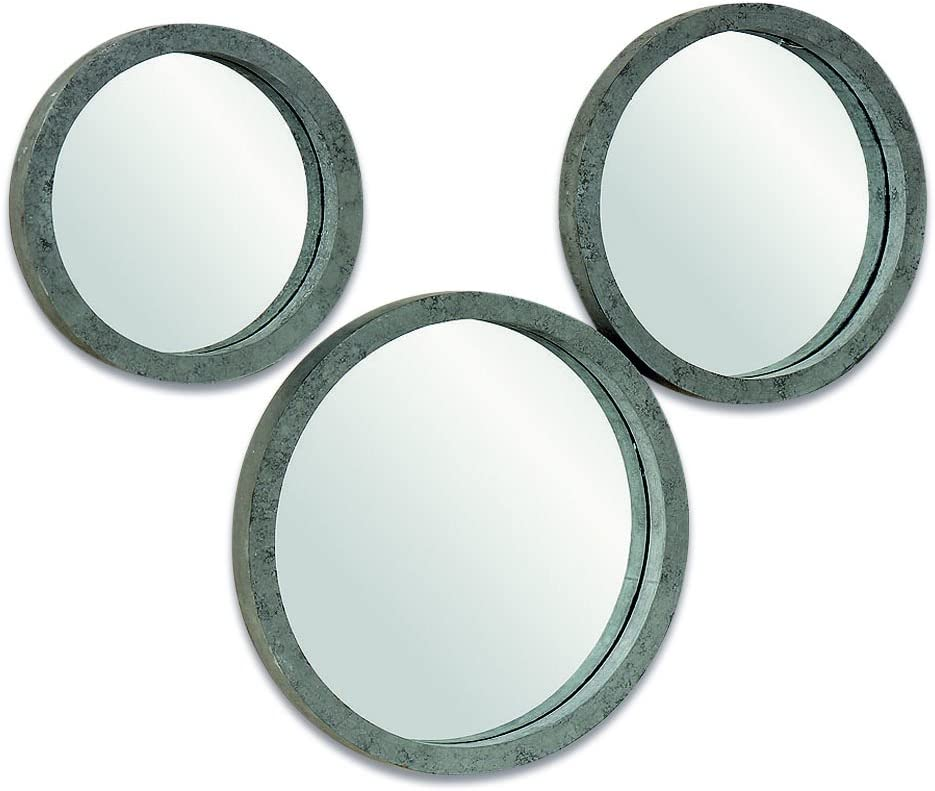 The Rustic Round Mirrors, Set of 3 Mirrors, Weathered Vintage Finish, Driftwood Gray, 10, 11 3/4, 13 3/ Inches Diameter, by Whole House Worlds