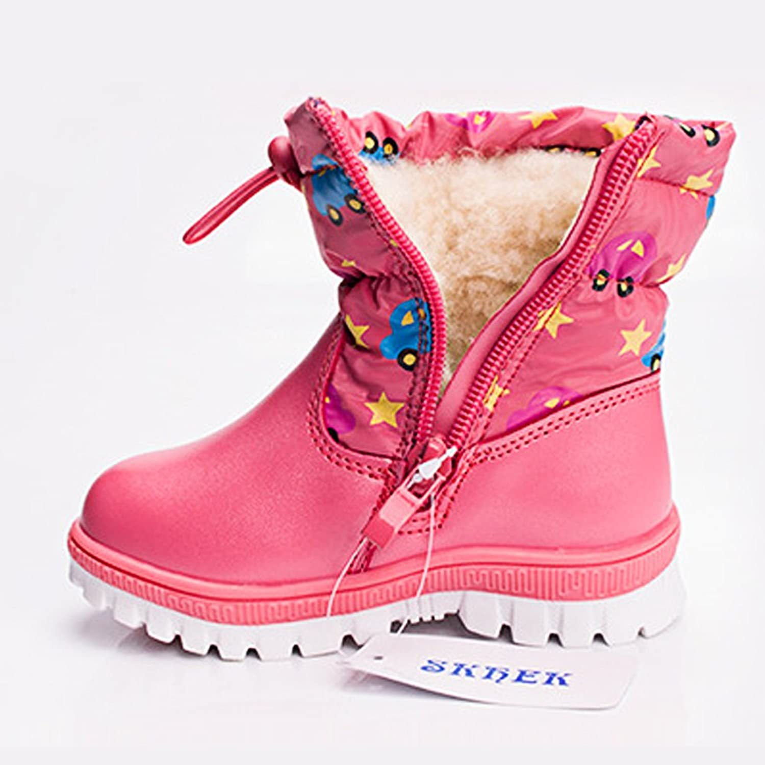ZUSERIS Kids Girls Winter Snow Boots Fashion Waterproof Cozy Warm Fur  Inside PU Leather Boots with High-top Zip: Amazon.co.uk: Shoes & Bags