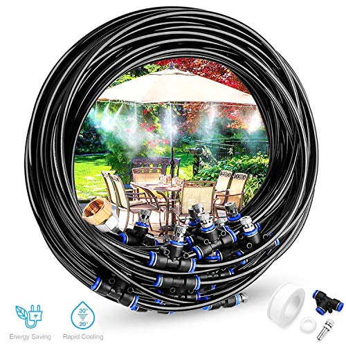 Gesentur [Upgraded 2018] Misting Cooling System - 75.46ft(23M) Misting Line + 30Metal Mist Nozzles + a Brass Adapter(3/4) for Outdoor Patio Garden Home Irrigation Trampoline