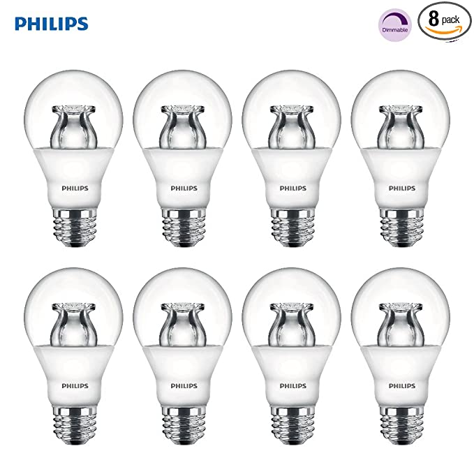 Philips LED Dimmable A19 Soft White Light Bulb with Warm Glow Effect: 800-Lumen, 2700-2200-Kelvin, 10-Watt (60-Watt Equivalent), E26 Base, Clear, ...