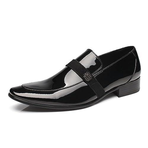 c77871ce90888 Faranzi Oxford Shoes for Men Patent Leather Tuxedo Moc Toe Slip-on Loafer  Mens Dress