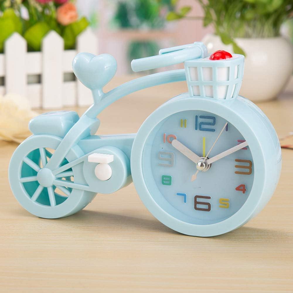 SMAQZ Espesar El Color Caramelo Creativo Reloj Despertador De Bicicleta Azul 17.8 * 6 * 12 Cm