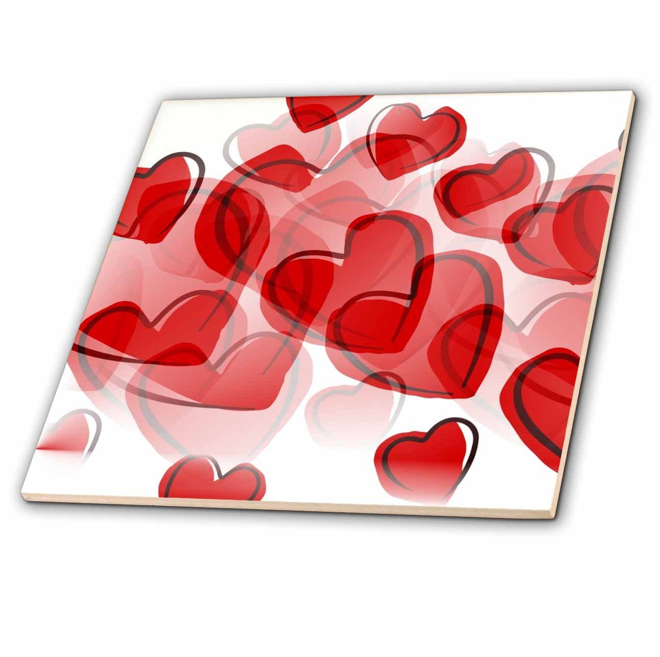 3dRose ct/_50606/_5 Love Red Hearts Lovable Art Valentines Day Glass Tile 4-Inch