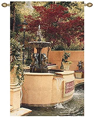 "Tranquil Fountain Garden Cotton Tapestry Wall Hanging 70"" x 45"""