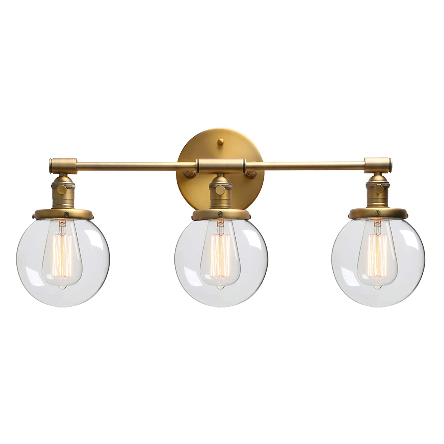 Phansthy industrial wall light 3 lights wall lamp with switch globe clear glass shade bathroom edison bulb lamps e27 socket wall sconce fittings vanity