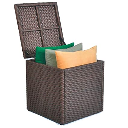 Delicieux Resin Rattan Deck Box Patio Garden Outdoor Storage Cube Pool Wicker  Organizer Aluminum Frame All Weather