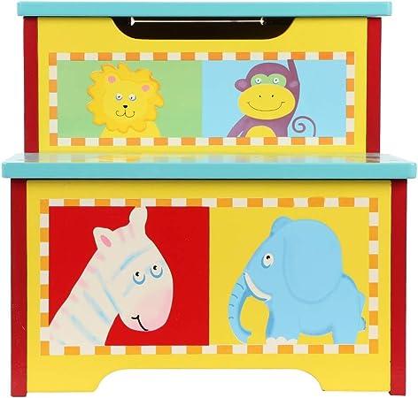 lyrlody Caja Juguetes y Banco para Niños, Baúl de Almacenaje para Juguetes con Asiento + Banco Organizador con Tapa + Taburete Escalera Infantil 3 en 1, Diseño de Zoológico 32 x 33 x 31cm: Amazon.es: Hogar