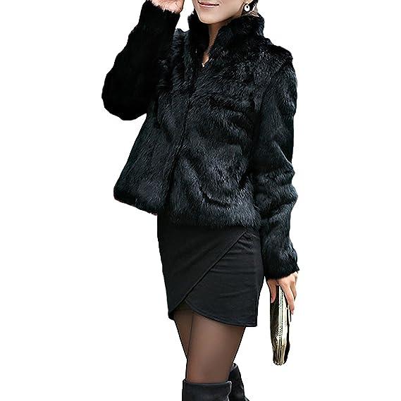 b7451d194 Corto Abrigo Mujer Collar del Soporte Chaqueta Invierno Chaquetas Pelo  Sintético Abrigo de Piel Sintética de