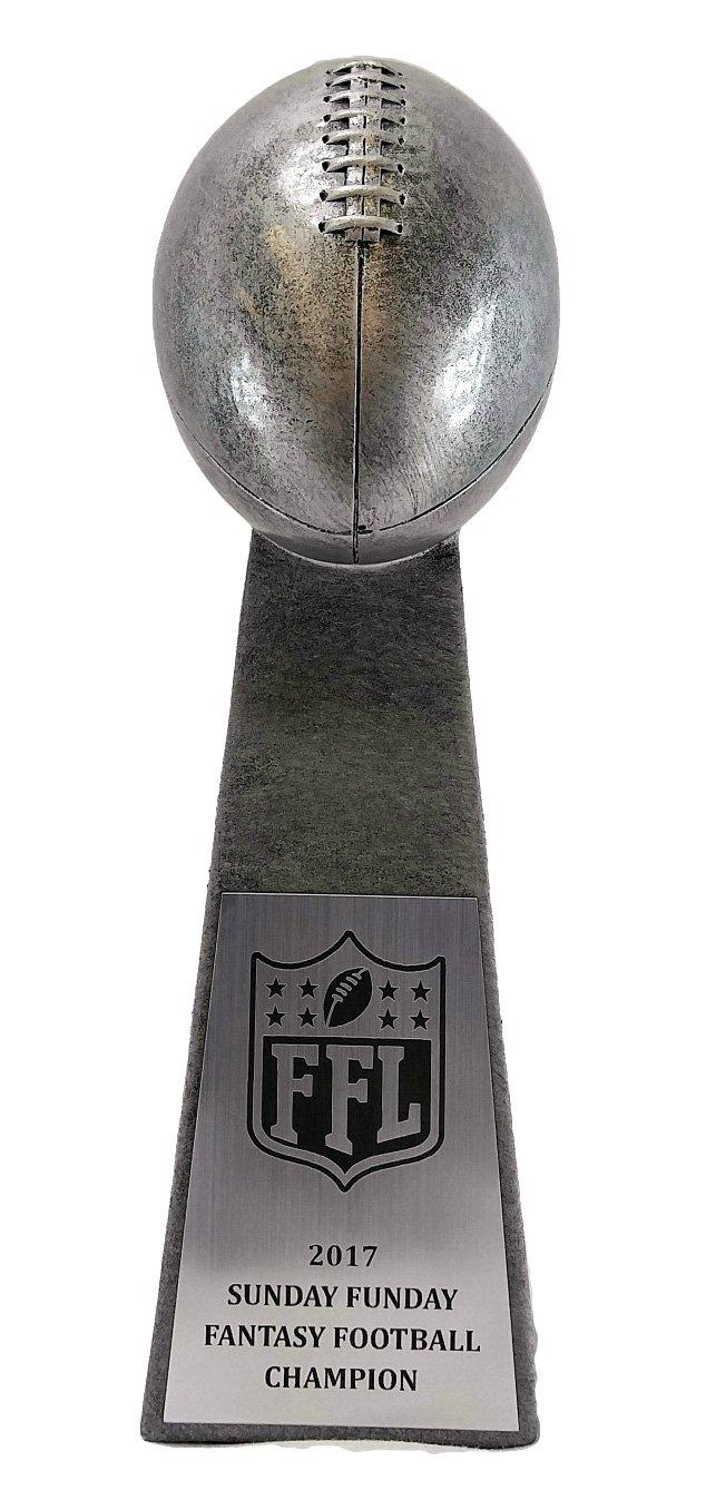 Decade Awards Fantasy Football League Silver Tower Trophy - FFL Award - 9.5 Inch Tall - Customize Now by Decade Awards