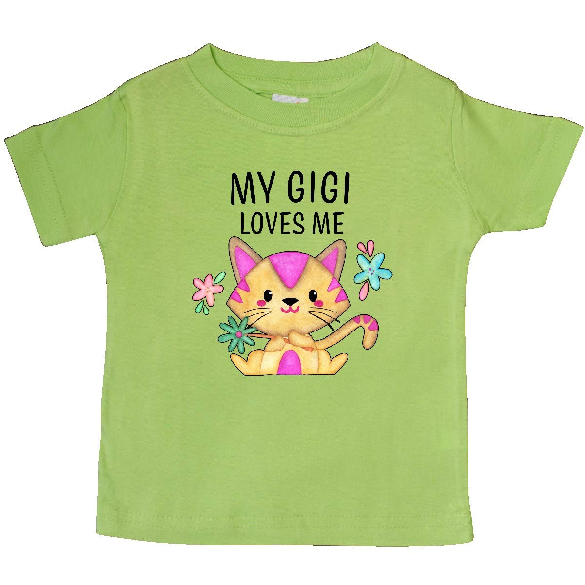 inktastic My Gigi Loves Me with Cute Kitten and Flowers Baby T-Shirt