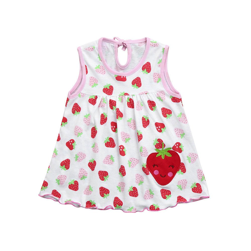 Baby Girl Cotton Dress Clothes Fruits Print Sleeveless Vest Sundress Princess Summer Casual Outfit