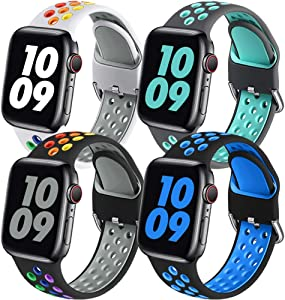 Easuny Sport Bands Compatible with Apple Watch Band 40mm 38mm Women Men - Soft & Durable Silicone Replacement Strap Breathable Wristband with Air Holes for iWatch SE Series 6 5 4 3 2 1, S/M 4 Pack