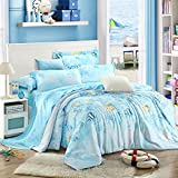 SAYM Home Bedding Sets Modern Fashion Digital Print Tencel Romantic Underwater World 3D Effect Print Set For Lovely Princess Teen Girls, Lady, Duvet Cover & Flat sheet & Pillow Case,4 Pieces,Queen Size