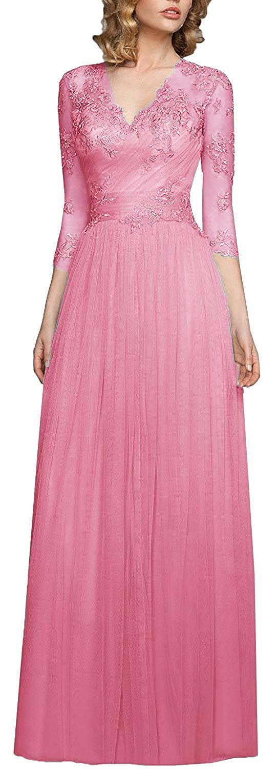 Beanred OkayBridal Women's V Neck Tulle Evening Gowns 3 4 Sleeve Appliques Formal Party Gowns Long