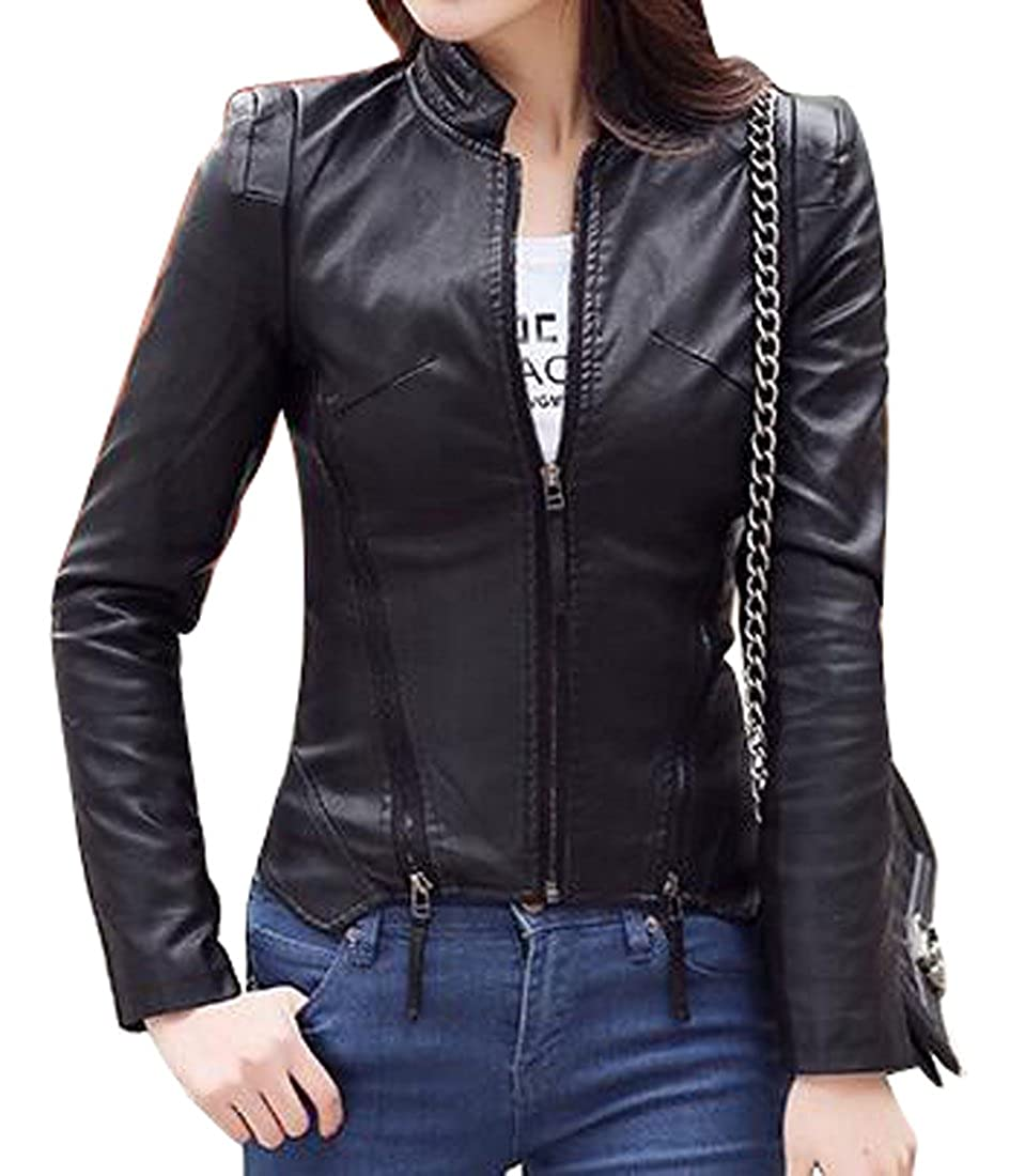 SYTX Womens Multi-Zipper Faux-leather Moto Biker Vintage Jacket Coat Outerwear
