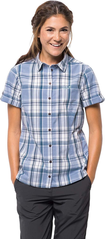 Jack Wolfskin Women's Maroni River Organic Cotton Short Sleeve Plaid Shirt