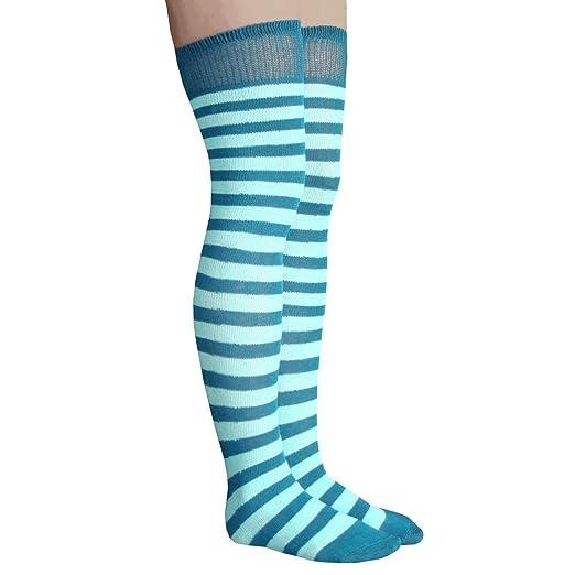 84e0ec87e99b Chrissy's Socks Women's Striped Thigh High Socks at Amazon Women's ...