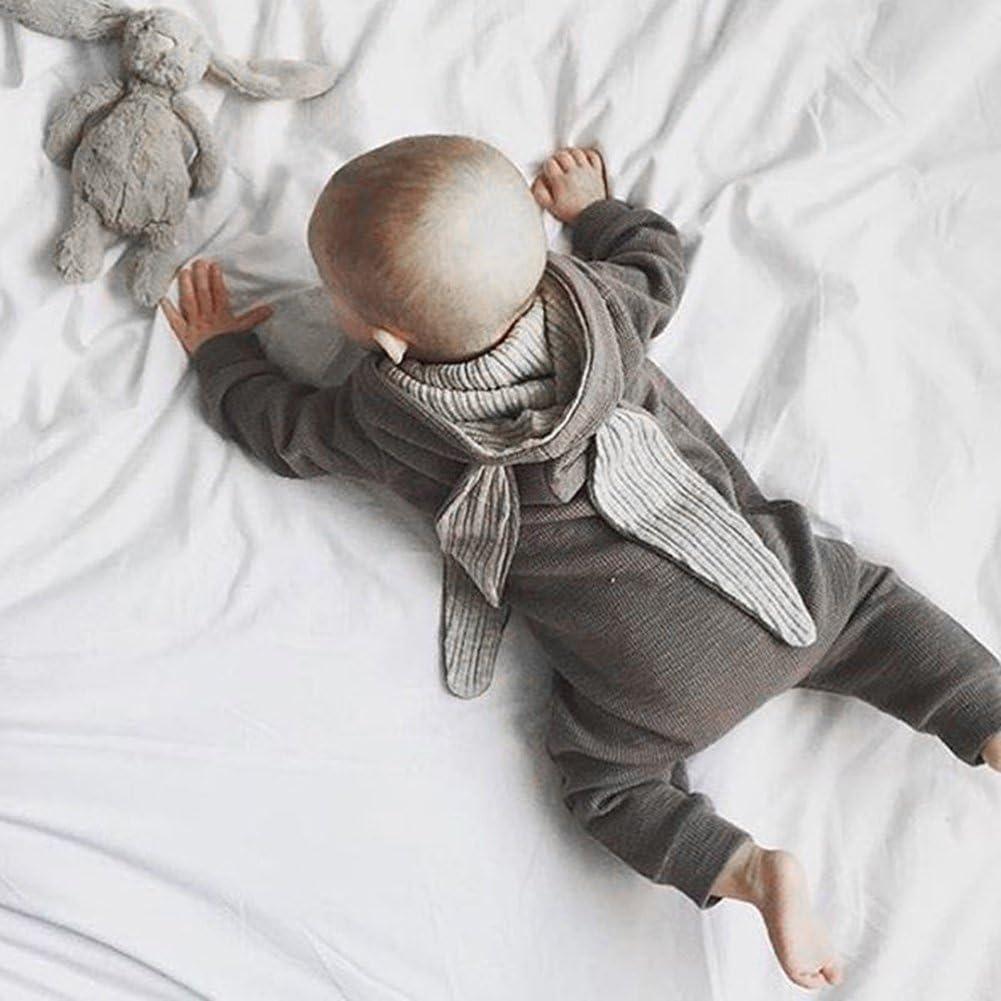 zhouba Infant Newborn Baby Girl Boy algod/ón Dise/ño 3d de conejo oreja Pelele Mono de manga larga Body Ropa gris Talla:0-3M