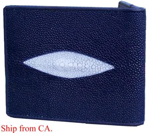 Navy Blue Authentic Thailand Stingray Men's Bi-fold Wallet