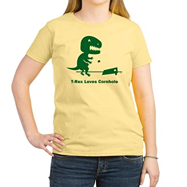 7f3cc5b44004 Amazon.com: CafePress - T-Rex Loves Cornhole Women's Light T-Shirt - Womens  Cotton T-Shirt, Crew Neck, Comfortable & Soft Classic Tee: Clothing