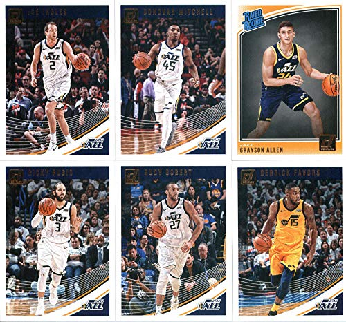 2018-19 Donruss Basketball Utah Jazz Team Set of 6 Cards: (Rookies included) Ricky Rubio(#53), Donovan Mitchell(#63), Joe Ingles(#73), Derrick Favors(#83), Rudy Gobert(#93), Grayson Allen(#156) Panini