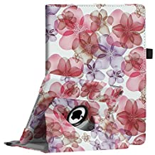 Fintie New iPad 9.7 inch 2017 / iPad Air Case - 360 Degree Rotating Stand Cover with Auto Sleep Wake for Apple New iPad 9.7 inch 2017 Tablet / iPad Air 2013 Model, Floral Purple