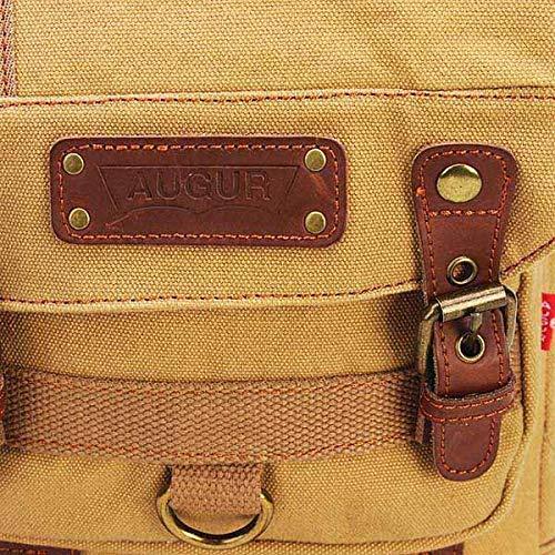 Loune Week Men Casual Canvas Outdoor Sport Shoulder Ipad Chest Crossbody Bag Coffee