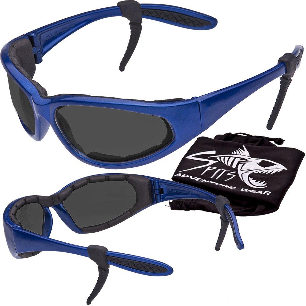 Hercules Safety Glasses ''Plus'' - Foam Padded - Rubber Ear Locks - BLUE Frame - GREY Lenses