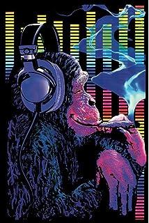 Funky Monkey Blacklight Smoking Headphones Poster 24x36