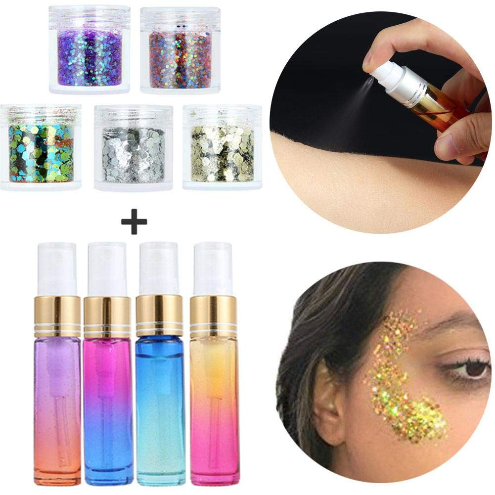5 Bottles Makeup Sequins Set Face Colorful Paillette with 4 Pack Safe Non Toxic Glue for Halloween Festival Rave Costume Face Cheeks Body Nail Hair Eyes Lips Mermaid Bride Make Up Ruier-hui