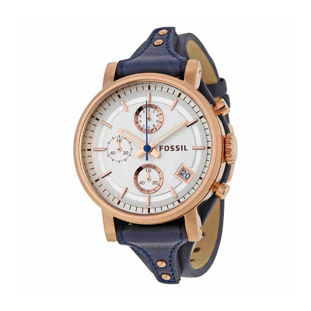 Fossil Women's Original Boyfriend Quartz Stainless Steel and Leather Chronograph Watch, Color: Rose Gold-Tone, Blue (Model: ES3838)