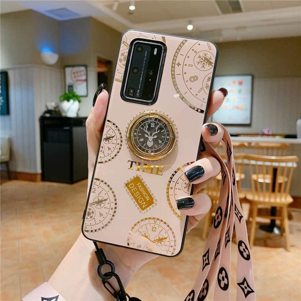 NiaCoCo Compatible con Huawei P20 Pro Funda 1*Protector de Pantalla,360 Grados Soporte de Anillo de Rotación Ultra Thin Anti Scratch con Pequeños Diamantes Carcasa de Telefono(Dorado)