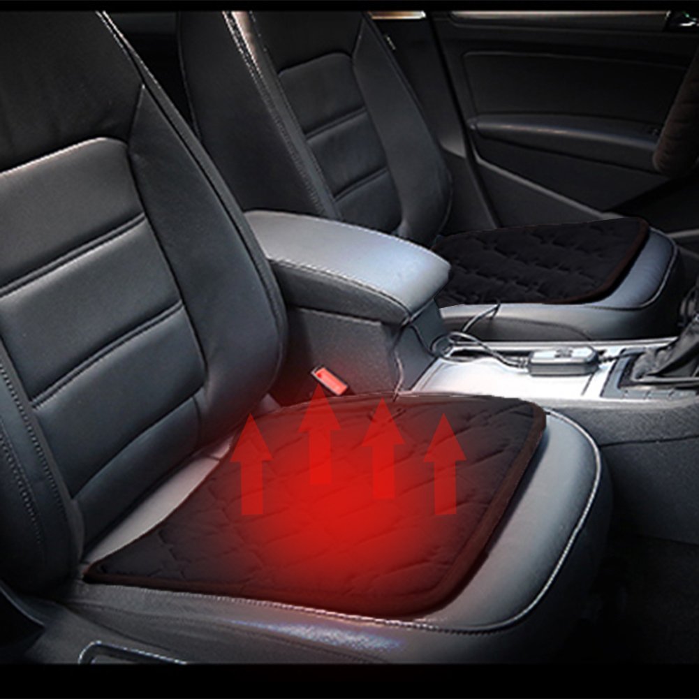 Comfortable Quick Warming Heated Car Seat Cushion Pad Auto 12V Heater Warmer Pad Hot Cover Automobile Heating Mat for Cold Weather and Winter Driving … (Black) sweetyhomes