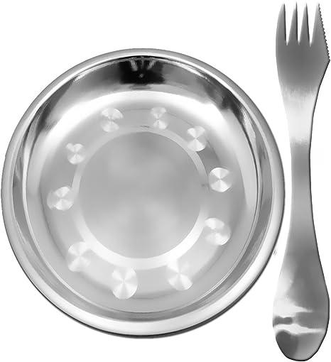 Outdoor Saxx® - Juego de picnic, 3 en 1, cubiertos de viaje, cuchara, tenedor, plato de acero inoxidable, juego de vajilla para camping, irrompible, ...