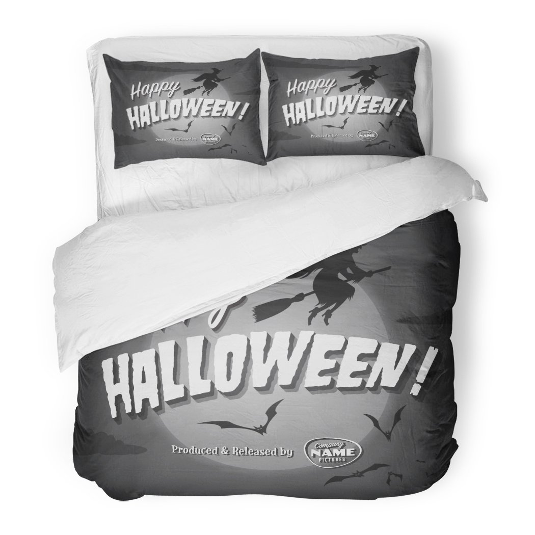 SanChic Duvet Cover Set Retro Movie Ending Screen Happy Halloween Vintage Witch Scary October Decorative Bedding Set with 2 Pillow Shams King Size