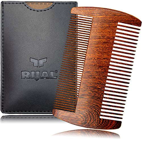 RIJAL Beard Comb Wood - 100% Sandalwood - Anti-Static Dual-Sided Coarse & Fine Tooth Comb (4