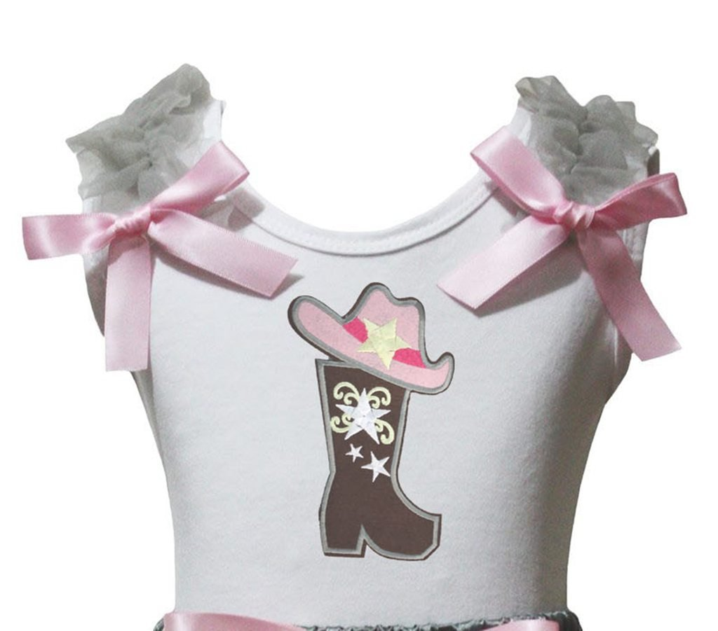 Petitebella Cowgirl Hat and Boot White Shirt Girl Blouse 1-8y (6-8 Years)