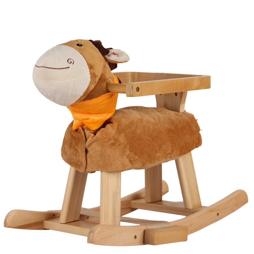 ZJING Das hölzerne Pferd des Schaukelpferdkippens des festen Holzes der Musik des Schaukelpferdbabyspielzeug-Schaukelstuhls niedriges junges Altersgeschenkauto